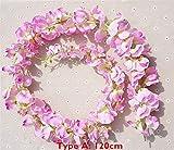 Mrjg Plantas 120 cm de Largo Artificial Wisteria Flower Vine Seda Hydrangea Rattan DIY Boda Fiesta de cumpleaños Decoración Pared telón de Fondo Flores Decoracion (Color : Type A Pink2 120cm)