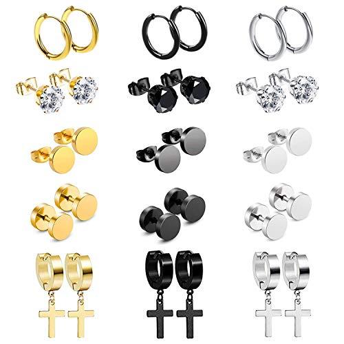 15 Pairs Stud Earrings Dangle Hinged Hoop Earrings Set for Men Women Stainless Steel Huggie Earring Set,Silver,Gold,Black