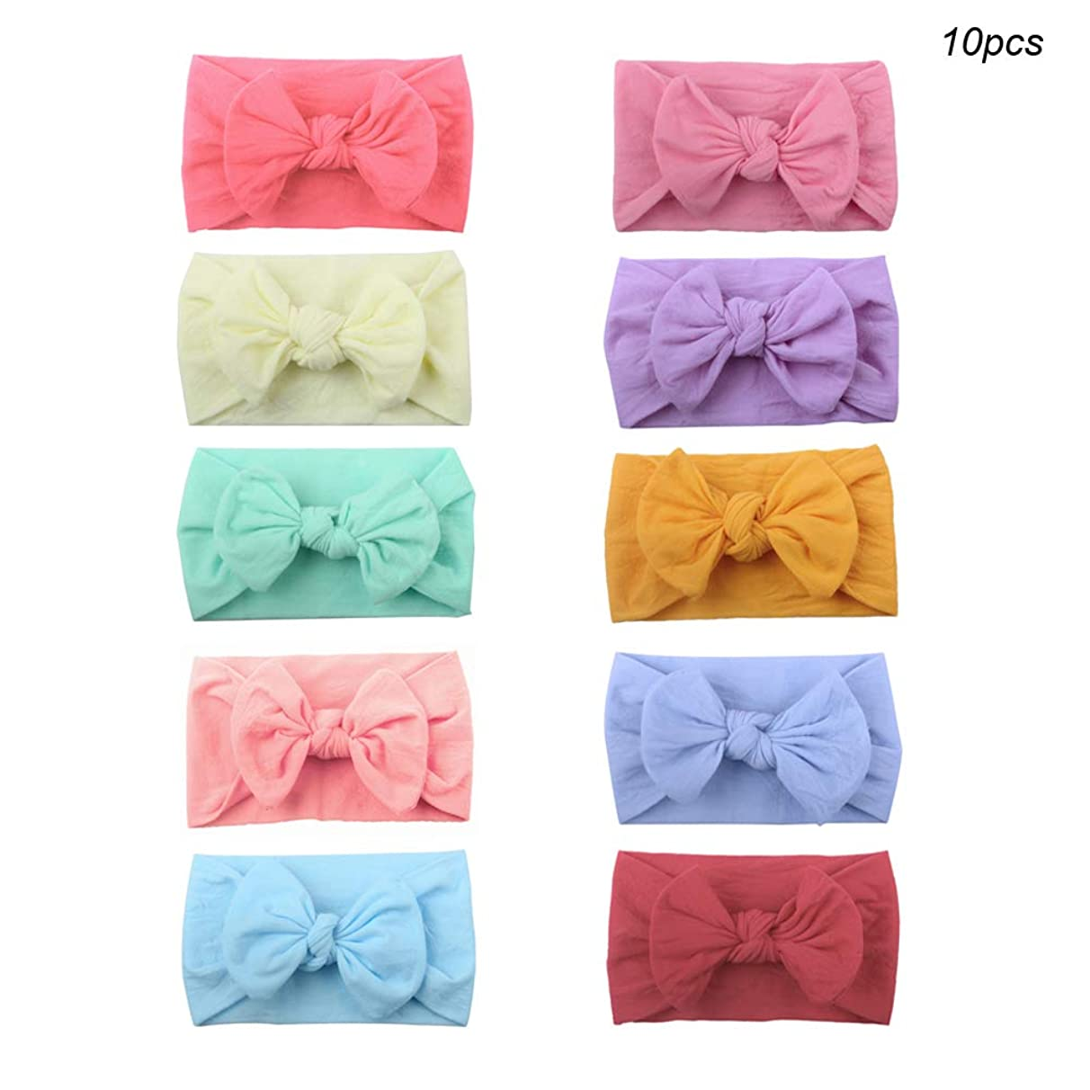 Huture 10pcs Baby Super Soft Nylon Bow Baby Hairbands Elastic Wide Bow Knot Hairband Bows Knot Turban Headwrap Baby Girl Kids Headbands Hair Bows Elastic Bands for Newborn Infant Toddler