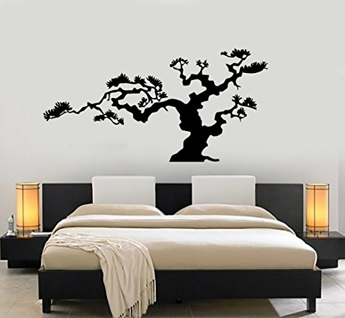 BorisMotley Wall Decal Japanese Bonsai Tree Vinyl Removable Mural Art Decoration Stickers for Home Bedroom Nursery Living Room Kitchen