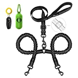 Peteast Double Dog Leash, Dual dog leash 360° Swivel Durable No Tangle & Soft Handle Dog Leashes with waste bags dispenser for Two Dogs