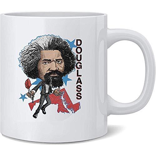 Frederick Douglass Retro Geschichtsheld-Karikatur-Keramik-Kaffeetasse-Kaffeetassen-Tee-Schalen-Spaß-Neuheits-Geschenk 11 Unze