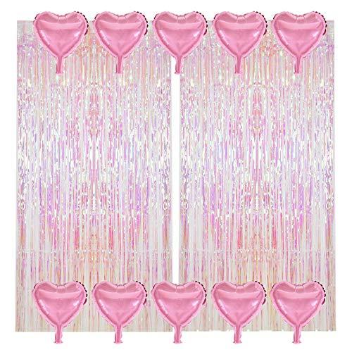 Cortina Flecos, Telón de Fondo de Serpentinas Brillantes con Flecos, Cortinas Multicolores Transparentes con Globos, Decoraciones de Fondo Para Fiesta de Boda, 2 Unidades (1 * 2,5 m)