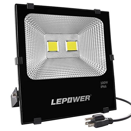 LEPOWER 100W LED Flood Light Outdoor, Super Bright Work Light Plug in, 500W Halogen Bulb Equivalent IP66 Waterproof, 8000LM, 6000K, Outdoor LED Lights Fixture for Backyard, Garden, Garage, Playground