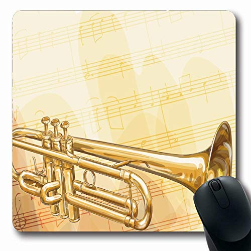 Jamron Mousepad Oblong 7.9x9.8 Inches Single Rough Brass Flowing Trumpet Jazz Theater Path Isolated On Shot Musical Style Objects Design Non-Slip Rubber Mouse Pad Office Computer Laptop Games Mat