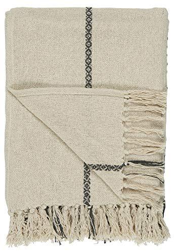 IB Laursen - Decke, Plaid, Quilt - Baumwolle - Creme/Streifen Schwarz - 130 x 160 cm