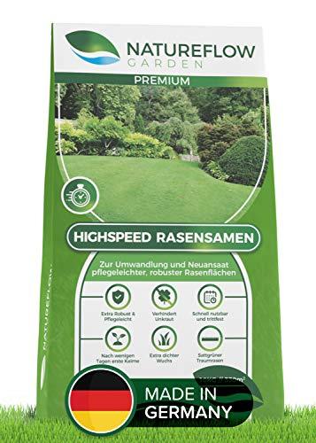 Natureflow Rasensamen schnellkeimend pflegeleicht zum Traumrasen - Grassamen für Sonne und Schatten - Premium Qualität - 10 kg