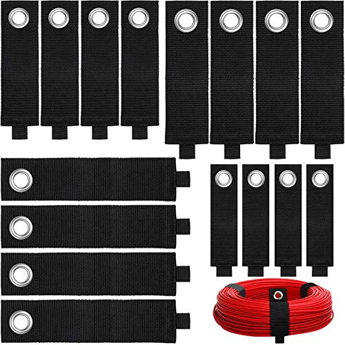 16 Pieces Heavy Duty Storage Straps Extension Cord Holder Organizer Hook and Loop Adjustable Cable Tie Strap Holder for Cables, Hoses, Rope, Garage, Shop, Home, Boat and More, Black