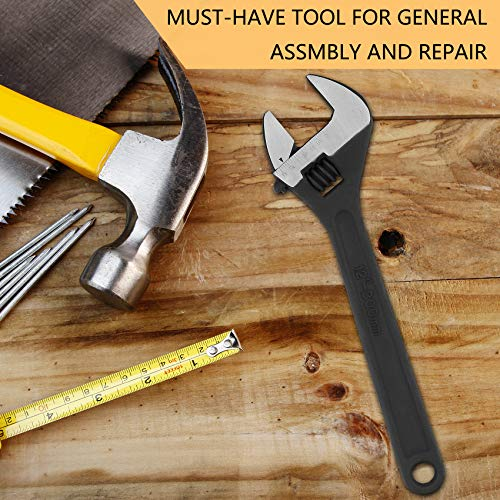 Navegando 12-Inch Adjustable Wrench, 1.5 Inch Jaw Capacity 1/16 Inch Increment, Professional Heavy Duty Corrosion Resistant Spanner, 45# Carbon Steel (12 inch)