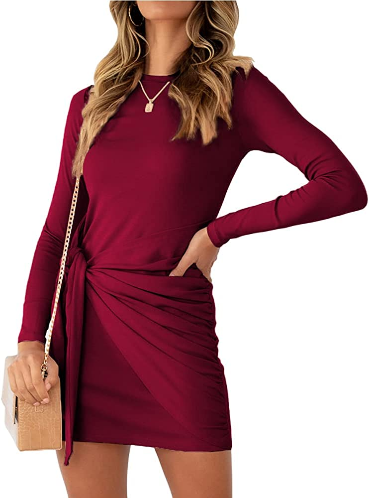 AUTOMET Women Casual Fall Long Sleeve Dress 2021 Ruched Bodycon Tie Waist Winter Mini Dresses