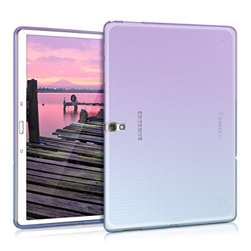 kwmobile Hülle kompatibel mit Samsung Galaxy Tab S 10.5 T800 / T805 - Silikon Tablet Cover Case Schutzhülle - Zwei Farben Violett Blau Transparent