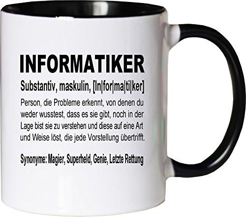 Mister Merchandise Kaffeebecher Tasse Informatiker Definition Geschenk Gag Job Beruf Arbeit Witzig Spruch Teetasse Becher Weiß-Schwarz
