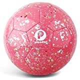 PP PICADOR Kids Soccer Ball Size 3, Glitter Shiny Sequins Toddler Soccer Balls with Pump for Girls Boys Ages 4-6-8 6-12 Child Baby Gift(Pink)