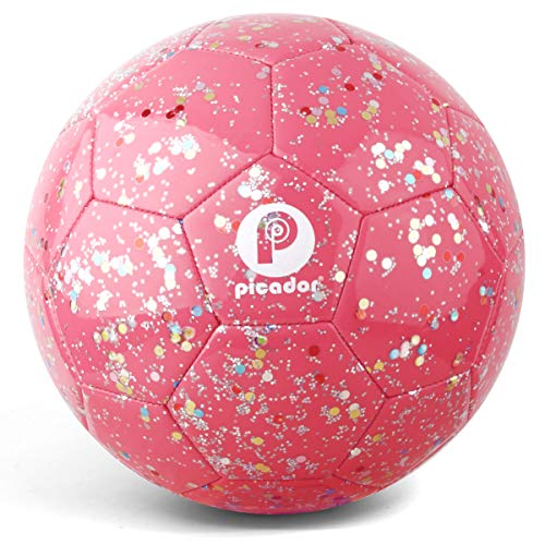PP PICADOR Soccer Ball Kids Size 3, Glitter Shiny Sequins Toddler Soccer Balls with Pump for Girls Boys Ages 4-6-8 6-12 Child Baby Gift(Pink)