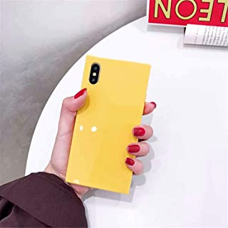 iPhone XR Square Case,Tzomsze XR Transparent iPhone Case Reinforced Corners TPU Cushion,[2019 Cute Candy Color Series] Square TPU Slim Shock Absorption Silicone Case Cover-Yellow
