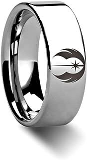 Jedi Order Insignia Emblem from Star Wars Wedding Band Ring Tungsten 8mm Wedding Band Ring from Roy Rose Jewelry