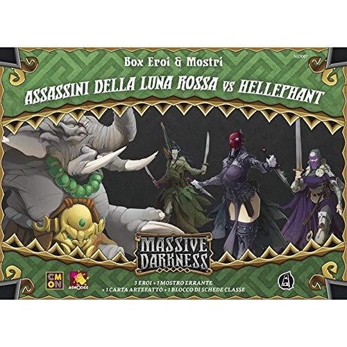 Asmodee - Massive Darkness Assassini de la Luna Roja vs Hellephant Expansión Juego de Mesa, Multicolor, 10106