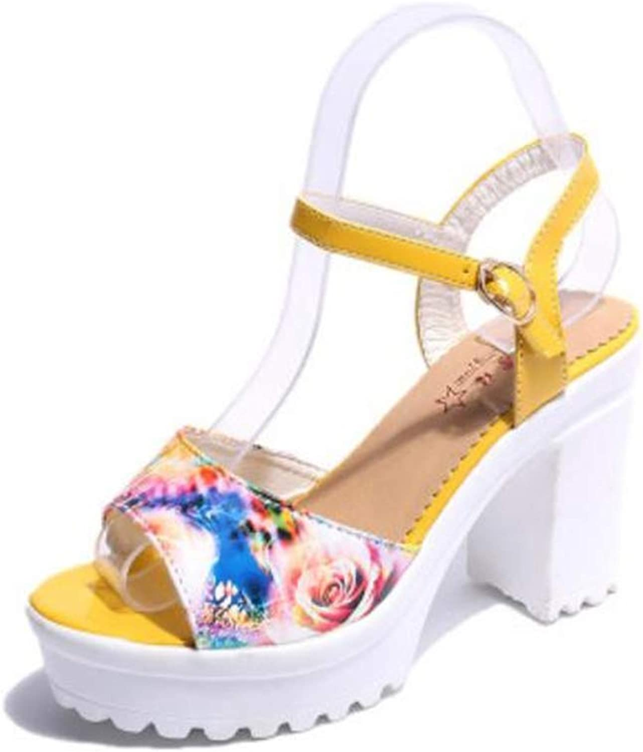 Gusha Non-Slip Platform high Heels Women's Thick with Sandals Casual shoes