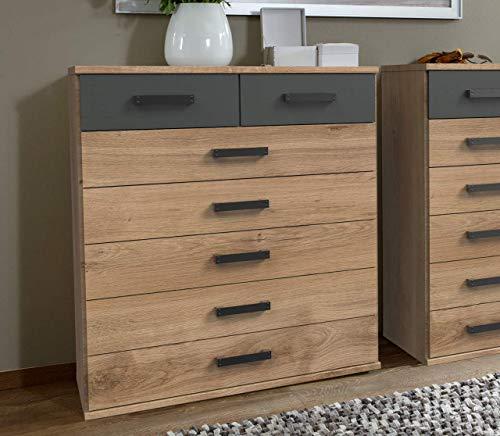 lifestyle4living Kommode in Plankene-Eiche-Dekor und grau. 7 Schubladen Sorgen für viel Stauraum in jedem Ihrer Räume.