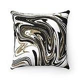 Promini Funda de almohada de arte abstracto, color negro y oro...