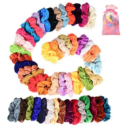 Keten Fluwelen Haar Scrunchies voor Meisjes, 50 Stks Elastische Haar Ties Scrunchy Haarbanden voor Vrouwen of Meisjes Haaraccessoires, Geweldig geschenk voor Halloween Thanksgiving Dag en Kerstmis