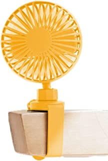 Wristband Small Fan Adjustable, Mute Portable Desktop Fan, Personal USB Fan For Baby Carriage Umbrella (Color : Yellow)