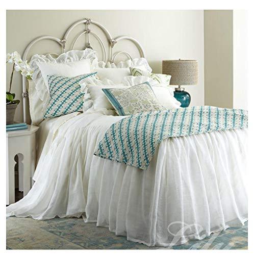 Natürliche Atmungsaktiv Baumwollsatin Bettrock,Luxuriöse Gekräuselten Doppelschicht Bettabdeckung,Wrap Around Bed Mit Plattform,Faltenbeständig Weiß 180x200cm(71x79inch)