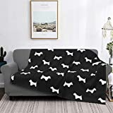 """DDSE Westie West Highland Terrier Dog Silhouette Black oft Micro Fleece Blanket Throw Super Soft Anti-Pilling Lightweight Sofa Plush Bed Couch Living Room 80""""x 60"""""""