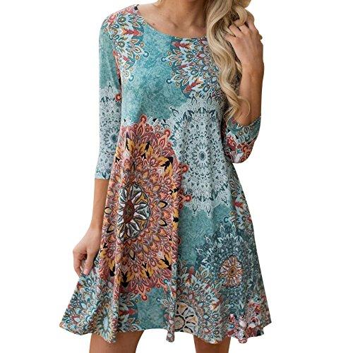 Routinfly Damen Kleid Lange Ärmel Vintage Bohème-Stil Blumendruck Rundhalsausschnitt Kleid Knielang Kleider Minikleid S-XL