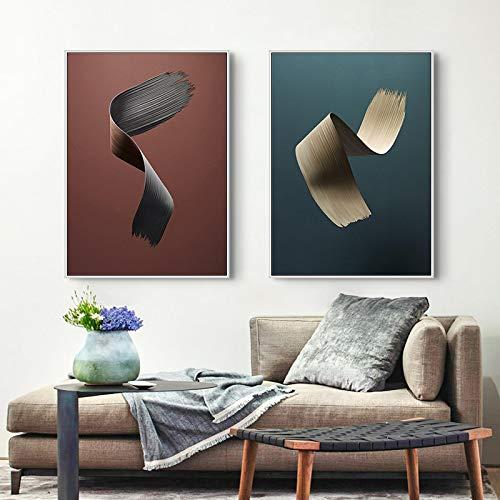 Bider Moderno Minimalista línea Abstracta Arte Lienzo Pintura Carteles Impresiones Arte de Pared para Sala de Estar decoración del hogar 50x70 cm / 19,7'x 27,6' x2 sin Marco