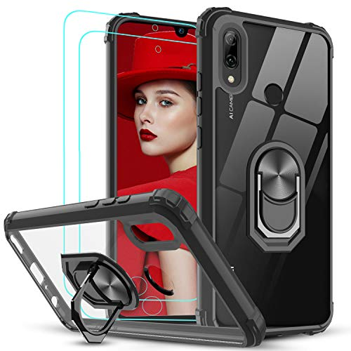 LeYi für Huawei P Smart 2019 Hülle Honor 10 Lite Handyhülle mit Panzerglas Schutzfolie(2 Stück), Ringhalter Schutzhülle Crystal Clear Acryl Cover Handy Hüllen für Hülle Huawei P Smart 2019 Schwarz