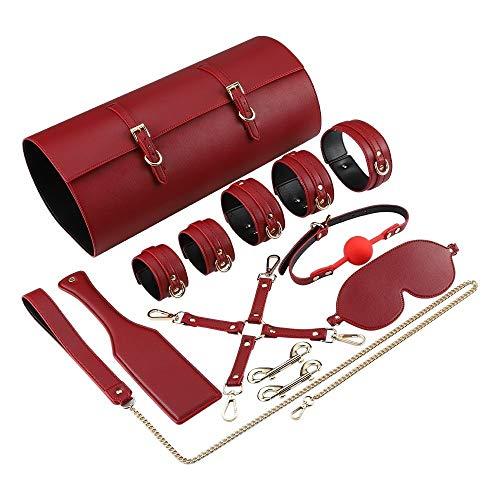 COOLTY High end PU Leather Set Straps Set for Wômên Côûplê Cọuples Flírt BdS-M S-M Ǎd-ULT Game Ṡěx Tǒy for Women (Color : Red)