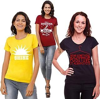 ADIMA Women's Regular Fit T-shirt (Set of 3)