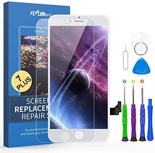 FLYLINKTECH Pantalla Táctil LCD Reemplazo para iPhone 7 Plus Blanco 5.5' Contiene Herramientas + película de Vidrio Templado - Blanco