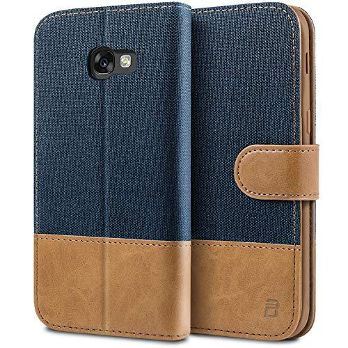 BEZ Handyhülle für Samsung Galaxy A3 2017 Hülle, Schutzhülle Kompatibel für Samsung A3 2017, Handytasche Schutzhülle Tasche [Stoff & PU Leder] mit Kreditkartenhaltern - Blaue Marine