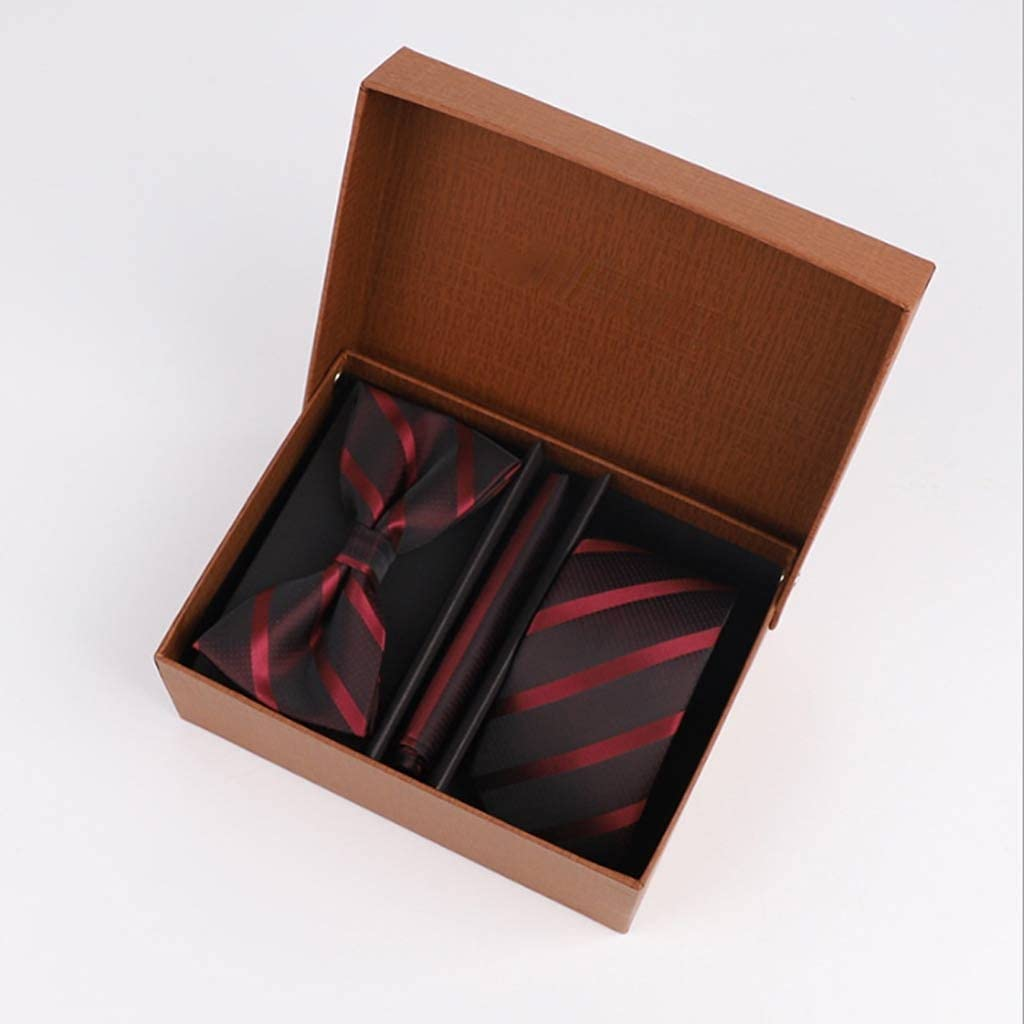 NJBYX Adult men's bow tie square scarf gift box set gift wedding groom wedding best man (Color : B)