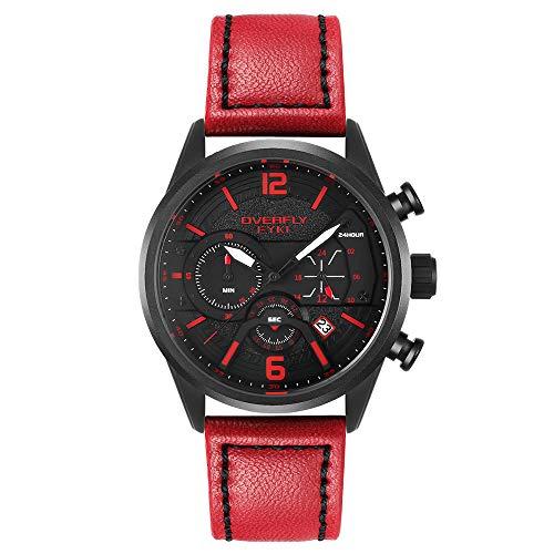 EYKI Uhren Herren Chronograph Analogue Quartz Armbanduhr für männer Lederband Fashion Business Sport Design 30M wasserdicht Elegant Männer Geschenk (Rot)