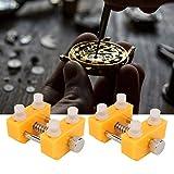 Soporte para cubierta trasera, removedor de caja trasera de reloj de alta dureza, acero inoxidable funcional amarillo ABS para relojeros de reparación de relojes