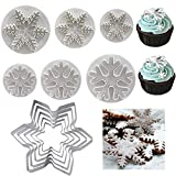 Snowflake Cookie Cutter Set 5 Pcs Snowflake Shaped Stainless Steel Mold Cookie Cutter and 6PCS Snowflake...