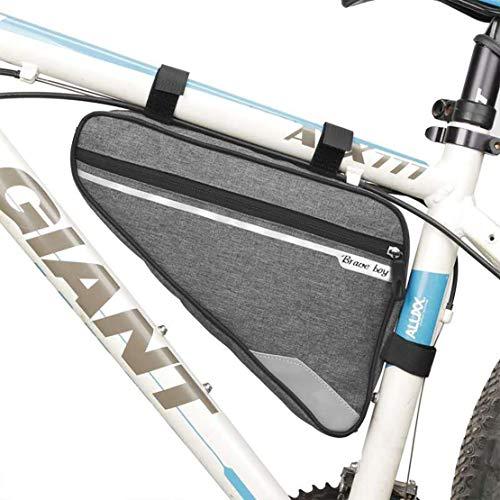 Brave boy Fahrradtasche Rahmen,Fahrrad Rahmentasche dreieck Wasserdicht Reflektierend Rahmentaschen Dreiecktasche 1,5l tolle Kapazität Triangle Bag(grau)