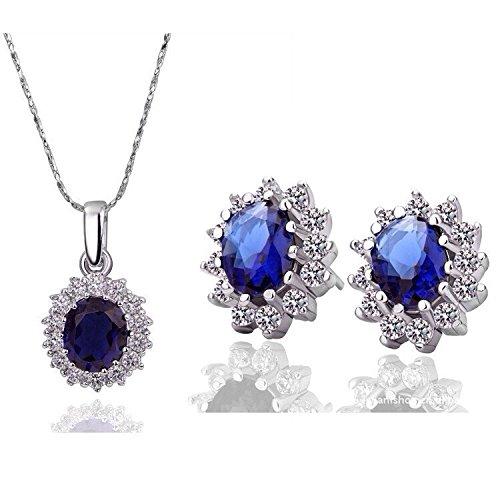 Schmuckset mit Ohrsteckern und Halskette in königlichem Design mit Saphir in royal-blau S358