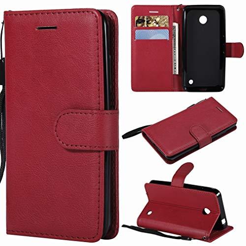 Laybomo Etui Nokia Lumia 635 / RM-974 Housse PU Cuir Pochette Portefeuille Aimant Protecteur Flip Cover Doux TPU Silicone Coque pour Nokia Lumia 635, Série Affaires (Rouge)