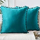 LHKIS Throw Pillow Covers 18x18 Set of 2, Decorative Velvet Farmhouse Pillow Cases Cushion Cover with Pom Poms for Couch Sofa Bedroom, Peacock Blue
