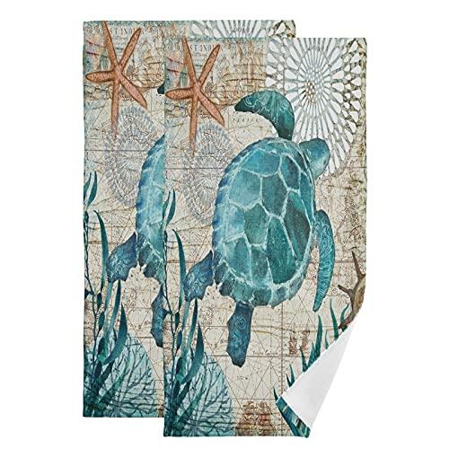 QMIN Toalla vintage mapa océano tortuga mar toallas de mano suave absorbente toalla cara Set de 2 paños para cocina, baño, yoga, gimnasio, playa, 71,9 x 36,6 cm