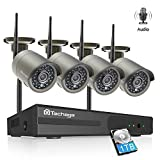 Techage Audio Wifi Camera System with Audio 4CH 1080P Wireless NVR Kit Indoor & Outdoor, Wifi IP Camera P2P Security Surveillance System, Hear Sound from App (With 1tb Hard Drive, Grey)