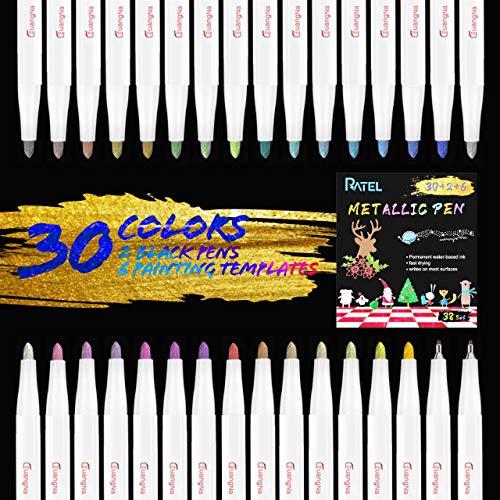 Rotuladores Metálicos, RATEL 30 colores brillantes Marcador