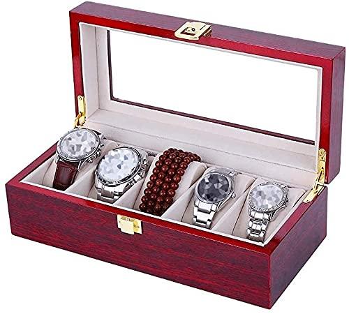 NYZXH Caja de Almacenamiento Caja de Reloj de Madera, Soporte de exhibición/Caja de Almacenamiento para Relojes de joyería 2/3/5 Caja de visualización de Relojes de Rejillas con Tapa de Vidrio Tapa