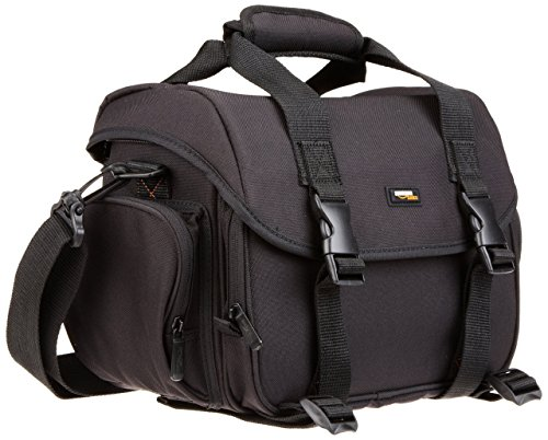 AmazonBasics Large DSLR Camera Gadget Bag - 11.5 x 6 x 8 Inches, Black And Orange