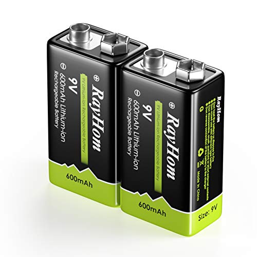 RayHom 9 Volt Rechargeable Batteries Lithium - 9V Batteries Li-ion 600mAh 2 Pack