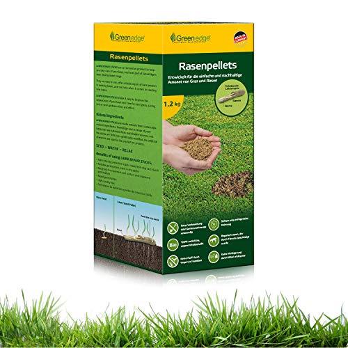 Rasensamen Grassamen schnellkeimend Rasenpellets 1.2 kg Rasen Reparatur Mischung für robusten und widerstandsfähigen Rasen Rasensaat für 45 m² zur Einsaat und Nachsaat